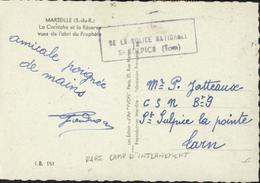 Guerre 39 CSS Centre Séjour Surveillé Censure Camp De La Police Nationale St Sulpice Tarn YT Mercure 412 X2 CP Marseille - Marcophilie (Lettres)