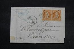 FRANCE - Lettre De Caen Pour Vimoutiers En 1860, Affranchissement Napoléon 40ct En Paire , PC 578 -  L 27705 - Postmark Collection (Covers)