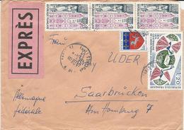 LETTRE EXPRES POUR L'ALLEMAGNE 1975 AVEC 5 TIMBRES - Postmark Collection (Covers)