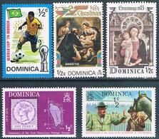 Dominica 1974 / 75  -  Yvert  383 + 389 + 396 + 402 + 440  ( ** ) - Dominica (1978-...)