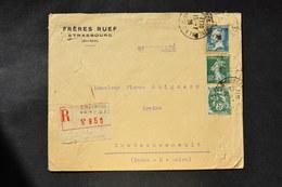 France - 1926 : Blanc 111 - Semeuse 159 - Pasteur 180 Sur Lettre Recommandée - 1921-1960: Période Moderne