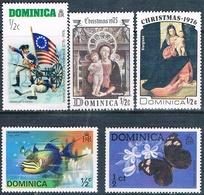 Dominica 1975 / 76  -  Yvert  414 + 420 + 440 + 465 + 495  ( ** ) - Dominica (1978-...)