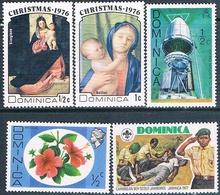 Dominica 1975 / 77  -  Yvert  447 + 487 + 495 + 495 + 524  ( ** ) - Dominica (1978-...)