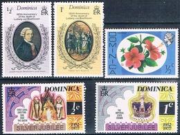 Dominica 1976 / 77  -  Yvert  447 + 512 + 513 + 517 + 518  ( ** ) - Dominica (1978-...)