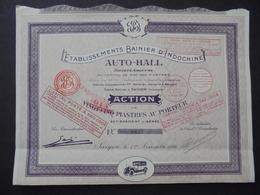 INDOCHINE, SAIGON 1926 - AUTOMOBILE - ETS BAINIER D'INDOCHINE ; AUTO HALL - ACTION 25 PIASTRES - DECO - Shareholdings