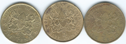 Kenya - 5 Cents - 1968 (KM1) 1971 (KM10) 1990 (KM17) - Kenya
