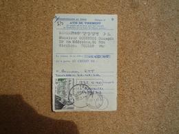 Timbre Y&T N° 1277 A.Honnorat Seul Sur Avis De Virement Chèques Postaux Oblitération Toulon 1961 - Poststempel (Briefe)