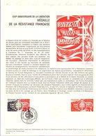 DOCUMENT FDC 1974 MEDAILLE DE LA RESISTANCE FRANCAISE - Documents De La Poste