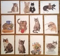 Lot De 11 Cartes Postales CHATS / Illustrateur FRANCIEN - Chats