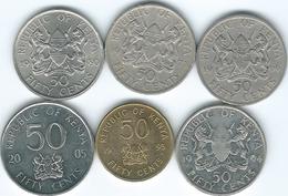 Kenya - 50 Cents - 1966 (KM4) 1973 (KM13) 1980 (KM19) 1994 (KM19a) 1995 (KM28) & 2005 (KM41) - Kenya
