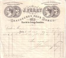 PARIS - ENTÊTE LITHOGRAPHIE ANGE - CHAUSSURES POUR DAMES - J. FERRY - 1869 - 1800 – 1899