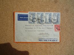 Enveloppe Par Avion Pour Chapa Tonkin Oblitération Toulon 1935 - Marcophilie (Lettres)