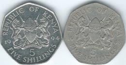 Kenya - 5 Shillings - 1985 (KM23) & 1994 (KM23a) - Kenya