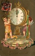 Angelots Anges Angels - 1909 - Illustrateur - Horloge Pendule - Dorures - Cpa Gauffrée - Ange Angelot Angel - Engel