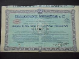 PACA, TOULON 1930 - ETS BOKANOWSKI ET CIE - OBLIGATION DE 1000 FRS 5 1/2%, 1929 - TITRE NON EMIS - Shareholdings