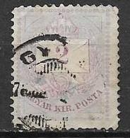 UNGHERIA 1874-76 FRANCOBOLLO MAGYAR KIRPOSTA YVERT. 13 B DENT.13X11 E MEZZO USATO VF - Ungheria