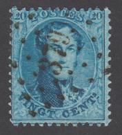 """COB 15 Avec Voisin - Oblitération à """"POINTS"""" N°.: 379 (VIRTON) - 1863-1864 Medaillen (13/16)"""