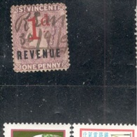 ST:VINCENT1881-5:one Pence REVENUE Stamp Used - St.Vincent (...-1979)