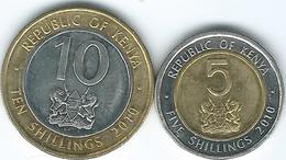 Kenya - 2010 - 5 Shillings (KM37.2) & 10 Shillings (KM35.2) - Tanzania