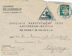 Nederland - Nederlands Indië - 1933 - 6 Cent Kind Op Zilvermeeuw Kerstvlucht Naar Palembang - Indes Néerlandaises
