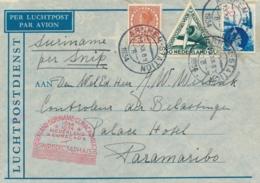 Nederland - Suriname - 1934 - 3 Zegels Op Snip-vlucht Van Arnhem Naar Paramaribo - Suriname ... - 1975