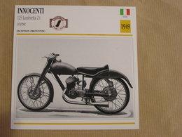 INNOCENTI 125 Lambretta 2 T Course Italie 1949 Moto Fiche Descriptive Motocyclette Motos Motorcycle Motocyclette - Sammelkarten, Lernkarten