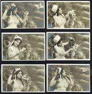 FEMME - 6 CP - Jeune Femme Avec Oiseau Messager (6 Poses) - Circulé  - Circulated  - Gelaufen - 1904. - Femmes