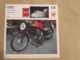 GILERA 500 Cm3 Rondine Compresseur Italie Italia 1937 Moto Fiche Descriptive Motocyclette Motos Motorcycle Motocyclette - Sammelkarten, Lernkarten