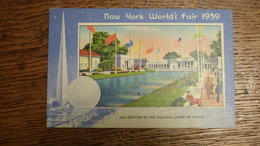 ETATS-UNIS, NEW YORK WORLD'S FAIR 1939, SECTION OF THE COLONIAL COURT OF STATES - Expositions