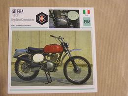 GILERA  125 5 V Regolarita  Italie Italia 1968 Moto Fiche Descriptive Motocyclette Motos Motorcycle Motocyclette - Sammelkarten, Lernkarten