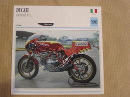 DUCATI 600 Pantah TT 2 Italie Italia 1981  Moto Fiche Descriptive Motocyclette Motos Motorcycle Motocyclette - Sammelkarten, Lernkarten