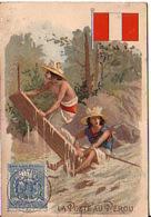 Chromo  Fiche Bon Point La Poste Au Perou Perou - Trade Cards
