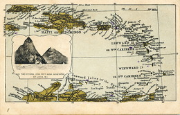 Carribean Map Haiti Puerto Rico St Barthelemy Guadeloupe Dominique Grenada Marie Galante St Lucia Soufrière - Antilles