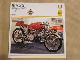 MV AGUSTA 350 Bicylindre GP Italie Italia 1957  Moto Fiche Descriptive Motocyclette Motos Motorcycle Motocyclette - Sammelkarten, Lernkarten