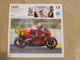 CAGIVA 500 C591 GP E Lawson Italie Italia 1991  Moto Fiche Descriptive Motocyclette Motos Motorcycle Motocyclette - Sammelkarten, Lernkarten