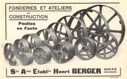 1928 - WAVRE - Fonderie Et Ateliers De Constructions - Ets Henri Berger - Dim. 1/2 A4 - Publicités