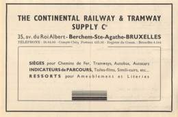 1947 - BERCHEM-Ste-AGATHE - Avenue Du Roi Albert - The Continental Railway & Tramway Supply C° - Dim. 1/2 A4 - Publicités