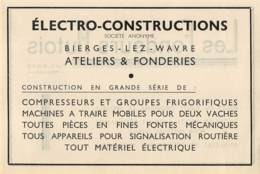 1947 - BIERGES-lez-WAVRE - Ateliers & Fonderies Electro-Constructions - Dim. 1/2 A4 - Publicités