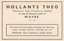 1947 - WAVRE - Manufacture Belge D'Articles En Celluloïd - HOLLANTS Theo - Dim. 1/2 A4 - Publicités