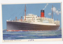 AK81 Shipping - Cunard R.M.S. Franconia - Artist Signed Frank Shoesmith - Steamers