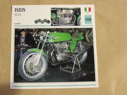 PATON 500 GP Italie Italia 1968  Moto Fiche Descriptive Motocyclette Motos Motorcycle Motocyclette - Sammelkarten, Lernkarten