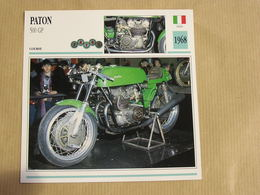 PATON 500 GP Italie Italia 1968  Moto Fiche Descriptive Motocyclette Motos Motorcycle Motocyclette - Geïllustreerde Kaarten
