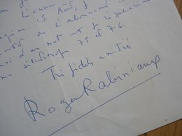 Roger RABINIAUX (1914-1986) Poète & Ecrivain. Résistant. Académie Humour. AUTOGRAPHE à PIerre Béarn. - Autografi