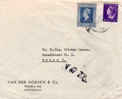 1946 Mengfrankering Wilhelmina Op Firmabrief Van Rotterdam Naar Praag - Periode 1891-1948 (Wilhelmina)