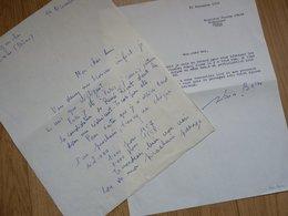 Alain BORNE (1915-1962) Poète. MONTELIMAR. 2 X Autographe à Pierre Béarn - Autografi