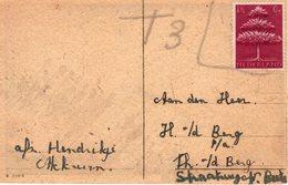 `1943 Germaans Symbool 1 1/2 Cent Op Felicitatiekaart Van Akkrumbeport Met 3cent - Periode 1891-1948 (Wilhelmina)