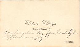Visitekaartje - Carte Visite - Onderwijzeres Elzina Claeys - Eke - Cartes De Visite