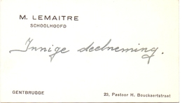Visitekaartje - Carte Visite - Schoolhoofd M. Lemaitre - Gentbrugge - Cartes De Visite