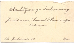 Visitekaartje - Carte Visite - Onderwijzers Joachim & Amand Boudewijn - Ieper - Cartes De Visite