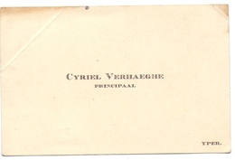 Visitekaartje - Carte Visite - Principaal Cyriel Verhaeghe - Ieper - Cartoncini Da Visita